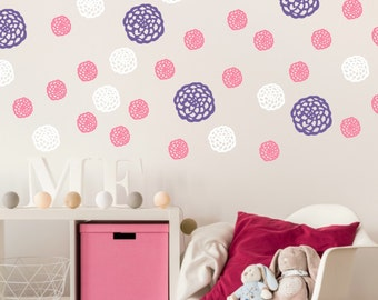 Flower Wall Decals - Girls Room Flower Decals - Flower Wall Decor - Blooms Decal - Wall Stickers for Nursery and Bedrooms - Set of 32
