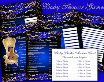 Baby Shower Games, Royal Prince Baby Shower Game, Royal Baby Shower Game, Instant Download Baby Shower Game Pack, Blue and Gold Baby Games