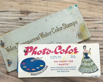 Velox Transparent Water Color Stamps, manufactured by Eastman Kodak Co. Rochester and a Photo-Color Palette book for colouring negatives