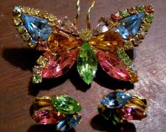 butterfly brooch clip earrings jewelry set Colorful vintage rhinestone