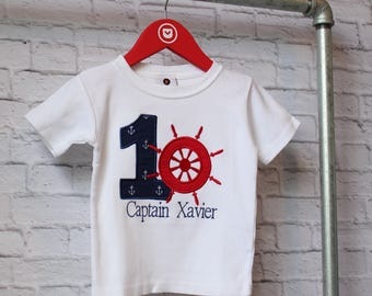 Personalized Captains Wheel Birthday Shirt - Personalized Nautical Birthday Shirt - Ships Wheel Shirt-You Choose your Fabrics