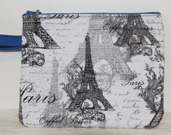 Vintage inspired black and white zipper pouch