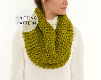 KNITTING PATTERN - Chunky Knit Infinity Scarf, Knitted Basic Cowl, Beginner DIY Easy Neck Warmer - The Juniper Cowl