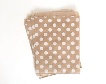 kraft paper bags - part treat bag - wedding favor bags - flat paper bag - gift bags - kraft paper bags - polka dot bags - set of 10 bags