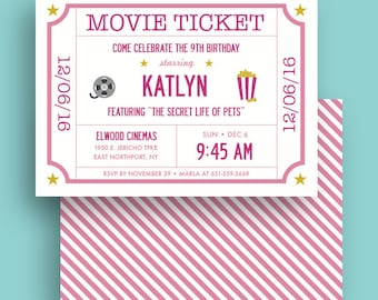 Movie Ticket - Kids Birthday Party Invite - Printable - 5x7 Invite - Pink - 24 Hour Proof Turnaround