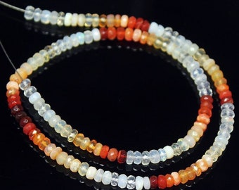 "Natural Fire Mexican Opal Faceted Rondelle Gemstone Spacer Loose Beads 13"" 4mm - Jewelry Making"