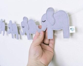 Elephant Nursery - Elephant Nursery Decor - Elephant Baby Shower - Elephant Baby Shower Decorations - Felt Garland - Baby Bunting - Banner