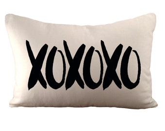 XOXOXO - Cushion Cover - 12x18 - Choose your fabric and font colour