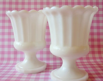 Milk Glass Pedestal Urn's