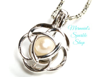 Sterling Pearl Cage Pendant, Celtic Flower Pearl Cage Pendant Celtic Cage Necklace Flower Cage Irish Jewelry, Pearl & Chain sold separately