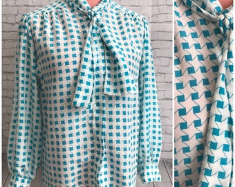 Turquoise geo pattern neck tie 80s blouse size Large