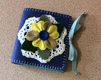 Wool Felt Needle Book in Ink & Ocean Blues