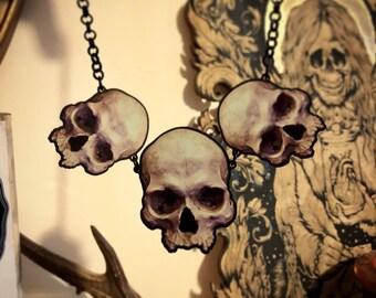 Mortem Skull Trio Necklace