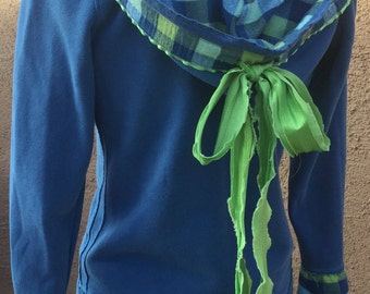 Repurposed hoodie/royal blue/big bow/one of a kind/ girls clothing