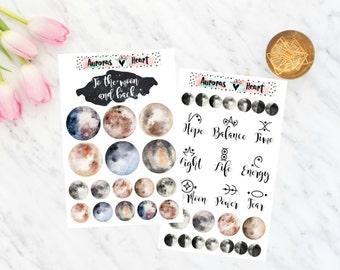 Moon & Glyphs Set Planner Stickers boho