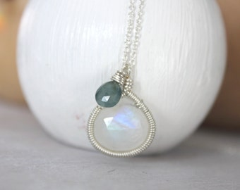 Moonstone Pendant- Moonstone Necklace - Blue Sapphire Charm Necklace- Gemstone Jewelry- Moonstone Jewelry-