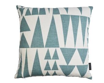 Scandinavian Swedish Geometric fabric contemporary cushion cover - Jazz Blue
