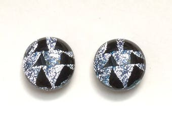 Silver & Black Fused Dichroic Glass Stud Earrings, 12mm Cabochons, Cabs, Hypoallergenic Surgical Steel Posts, Jewelry
