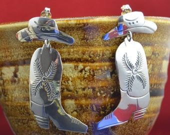 Navajo Sterling Silver Cowboy Boots and Hat stamped Earrings