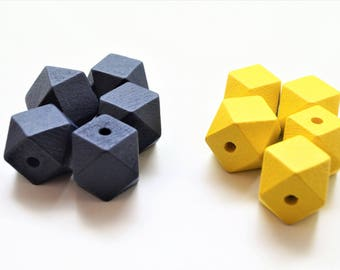 Set of 10 Wooden Beads, painted navy blue and yellow, polygon 20 mm