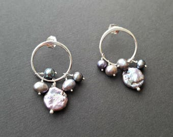 Sterling Silver and freshwater pearl cluster earrings, sterling silver post, peacock coin and potato pearls