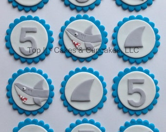 Fondant Cupcake Toppers - Sharks