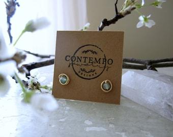 Sea Green Studs, Stone Stud Earrings, Gold Stud Earrings, Light Green Studs, Gold Studs, Light Green Earrings, Small Green Earrings