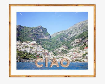 Ciao Positano Photograph -- Positano Beach Italy -- Travel Photography -- 8 X 10 Inch Print
