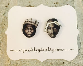 Biggie and Tupac Earrings - Stud Earrings - Celebrity Earrings - 2pac Studs - Biggie Studs - Hip Hop Fashion - 90s Jewelry - 90s