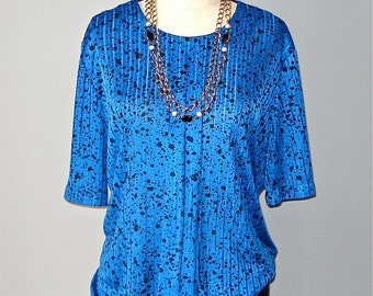Vintage 90s blouse BLUE SPLATTER indie hipster oversized slouch top - M/L