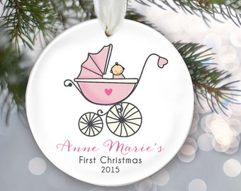 Baby's 1st Christmas Pink Baby Carriage Ornament Personalized Christmas Ornament Babys First Ornament Custom Baby girl pram gift OR219