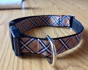 1 inch wide adjustable side release pet collar - brown plaid - black webbing - size medium