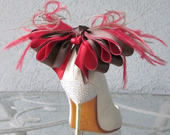 Chocolate Covered Strawberries Satin Ribbon Bow And Feather Shoe Clips More Colors Available