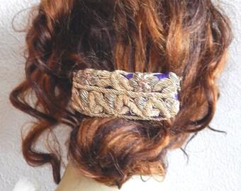 Purple gold barrette,embroidered barrette, beaded barrette, hair barrette,fabric barrette, hair accessory, fashion accessory