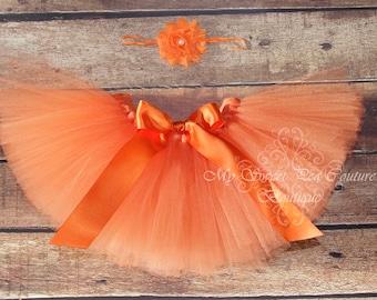 Orange Tutu & Headband Set- Tutu- Princess Tutu- Baby Tutu- 1st Birthday Tutu- Cake Smash Tutu- Birthday Tutu- First Birthday- Photo Prop