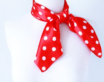 Polka Dot Square Scarves / Soft Silk Head Scarf / Scarf Headband / Red and White / Retro Vintage Wide Head Wrap / Bandanas