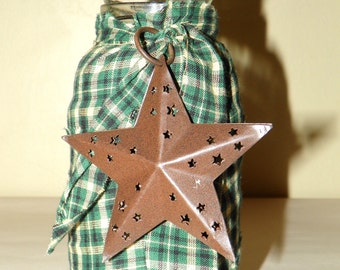 Primitive Candle Holder with a Rusted Star and Tied with Homespun