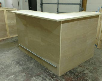 "Home Bar Furniture, Solid Wood, Hand Made, 72X24X42 & 36"" Side Extension, Finishing Colors Available"