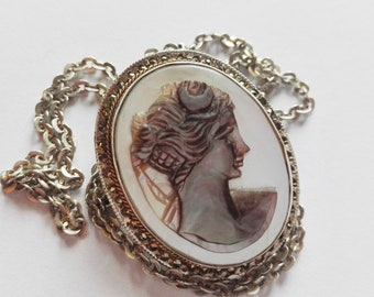 Antique pendant/Brooch with mother-of-pearl cameo and frame of Marcassiti-Silver 900
