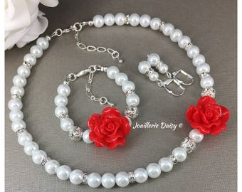 Flower Girl Necklace Flower Girl Jewelry Flower Girls Gift Flower Girl Bracelet Christmas Jewelry for Girl Winter Wedding Christmas Gift