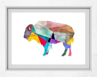 Buffalo Art, Colorful Animal Art, Buffalo Print, Geometric Animal Art, Buffalo Wall Art, Colorful Nursery Art, Geometric Nursery Prints