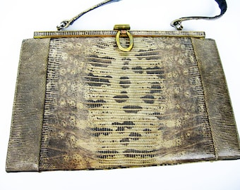 Reptile Skin Leather Kelly Handbag Vintage 1950s Fashion Accessory, Top Handle and Snap Closure, Brown Tan Womans Purse, Movie Stage Prop
