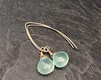 Chalcedony earrings - Aqua chalcedony earrings, boho long dangle earrings, modern minimalist gemstone earrings, birthday gift for women