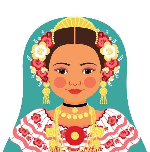 Panamanian Doll Art Print with traditional folk dress, matryoshka