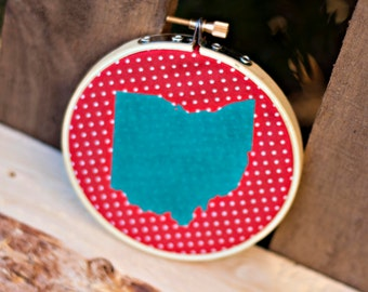 Small Ohio Embroidery Hoop Art