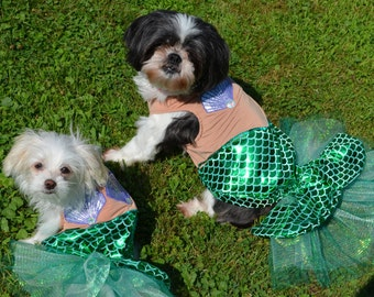 Unique and Awesome Smaller Breed ONLY Mermaid Dog Halloween Costume size xsmall-Large