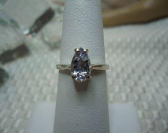 Pear Cut Santa Maria Aquamarine Rin in Sterling Silver  #2223