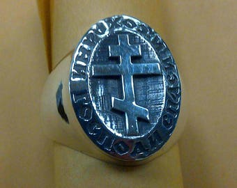 Russian Orthodox Cross Ring prayer Lord Save and Preserve Solid Sterling Silver