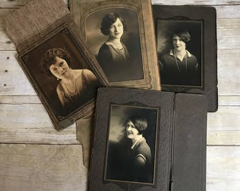 Paper Picture Frames - Antique Photos - Photography - Set of Four Vintage Pictures and Frames - Paper Frames - Black and White