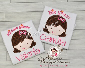 Little Sister Shirt, Middle Sister Shirt, Big Sister Shirt - Custom Personalized Siblings Outfit - New Baby Announcement Shirt